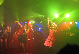Sugababes playing in ball marquee