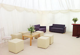 The reception area in the marquee