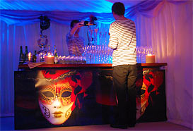 Bar decorated with Carnevale masks
