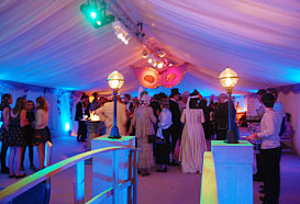 Drinks reception area with masks from the roof and spectacular lighting