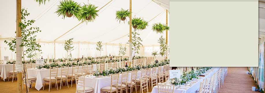 Luxury marquee with hanging foliage baskets