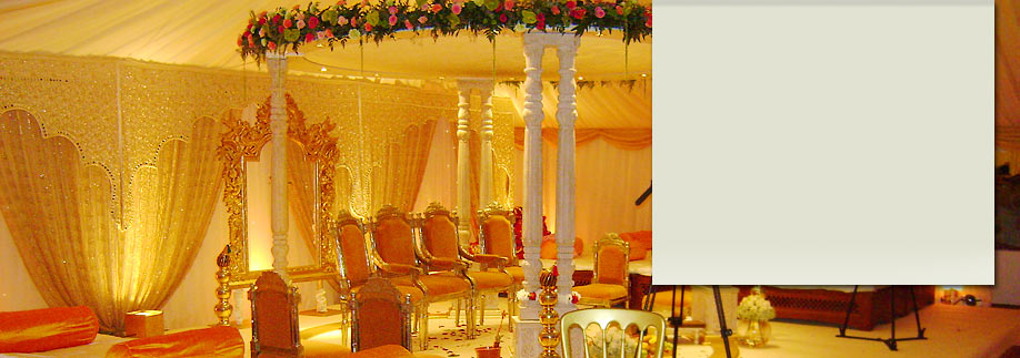 Mandap at Asian wedding marquee