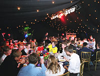 Bar mitzvah marquee with night sky and coloured lighting