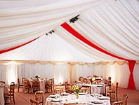 Marquee with red stripes