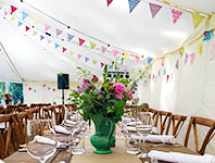 Patterned bunting in a wedding tent