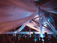 Marquee with clear roof