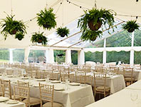 Marquee with hanging foliage baskets