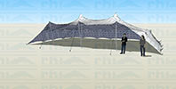 Stretch tent with three sides down