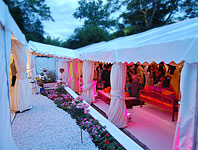 Marquee walkway between two large marquees