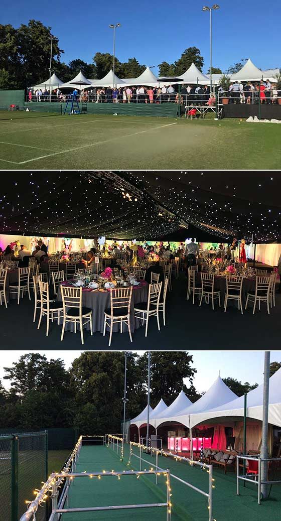 Hospitality marquees for tennis tournament