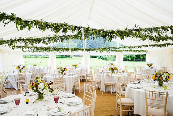 Marquee with leafy roof decoration