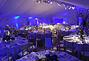 Classic party marquee over a swimming pool