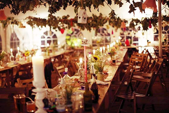 Vintage style wedding tent with candles