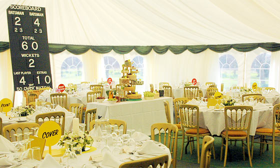 Marquee decorated with cricket theme