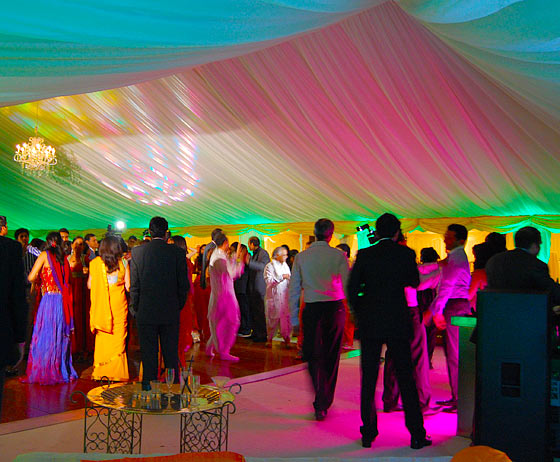 Colourful lighting in dance marquee