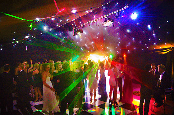 Dancing marquee with disco lighting