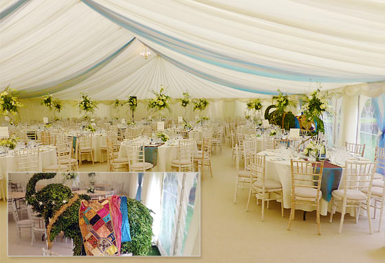 Wedding marquee in Oxford with an elephant