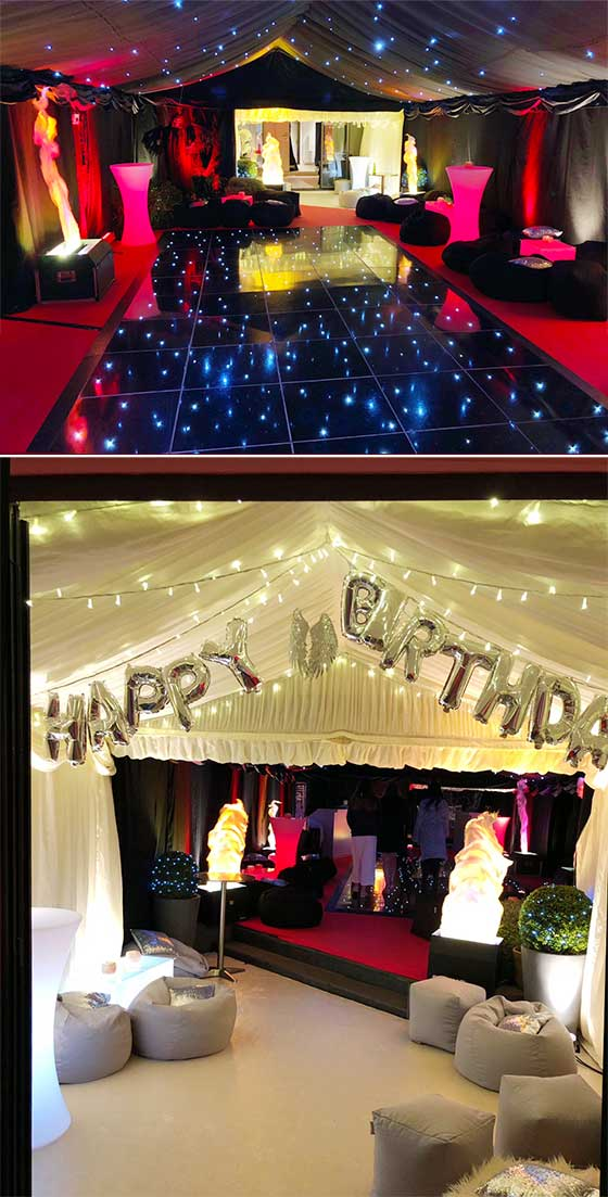 Marquee decked out for an evening party