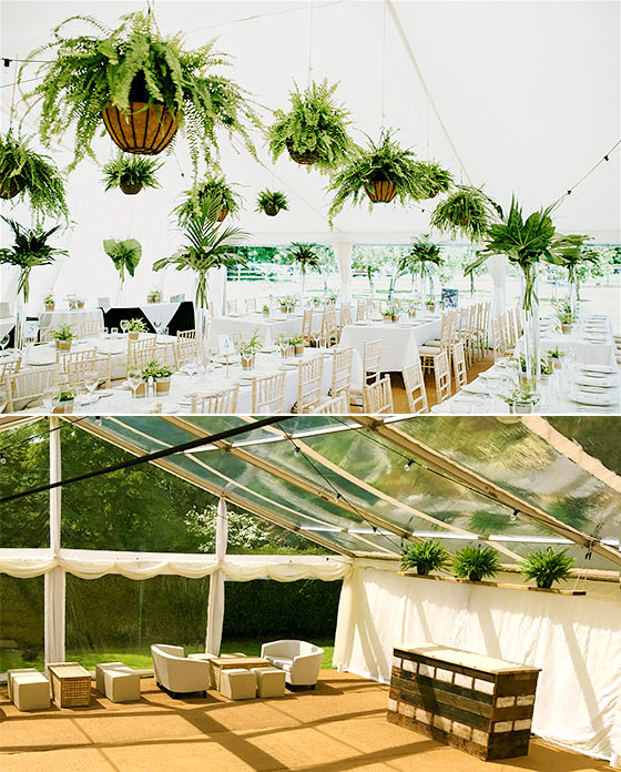 Marquee with hanging baskets