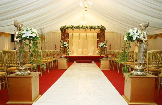 Indian wedding marquee with mandap in Hounslow, London