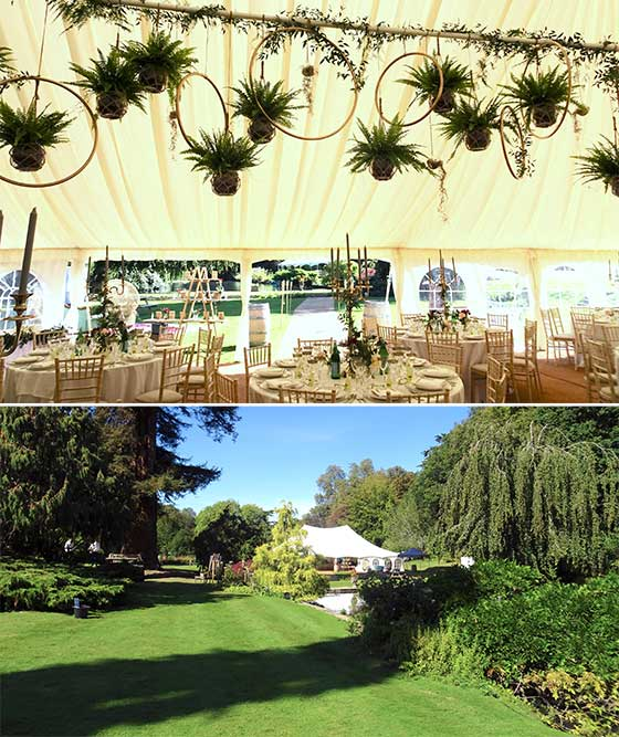 Wedding reception using two marquees in Hadley Wood, Hertfordshire
