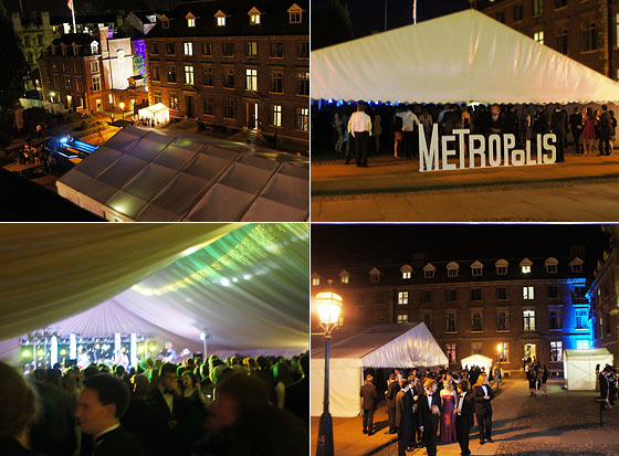 Scenes from a large marquee ball in Cambridge