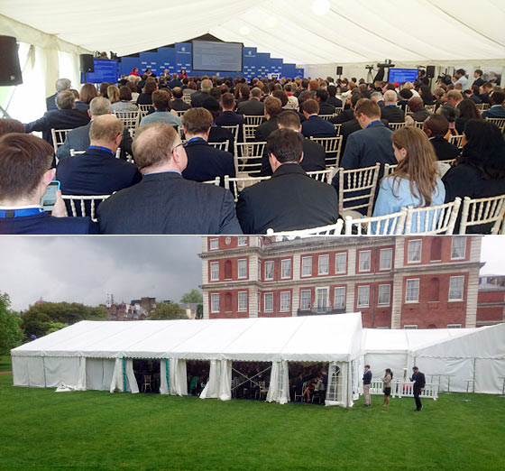 Exterior and interior of a marquee for a large conference