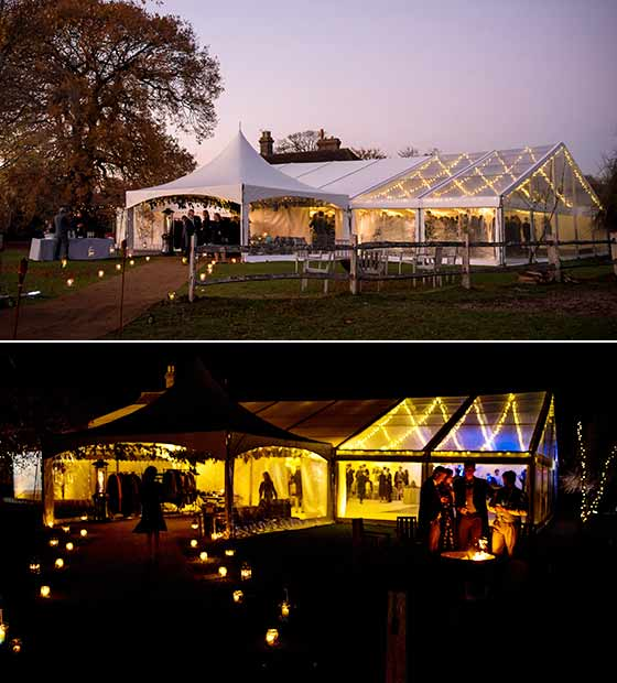 Lighting sets the party mood in a wedding marquee
