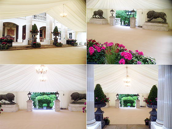 Marquee with grand venue features inside near Croydon, Surrey