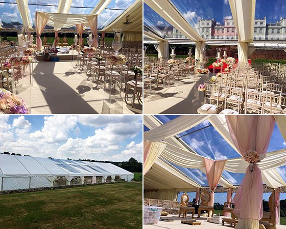 Large marquee with clear roof for a wedding ceremony