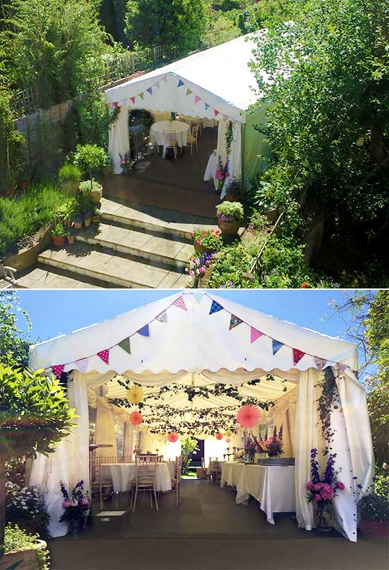 Marquee built around a garden in Westminster, London