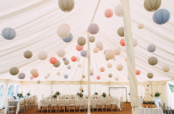 Marquee with paper lanterns