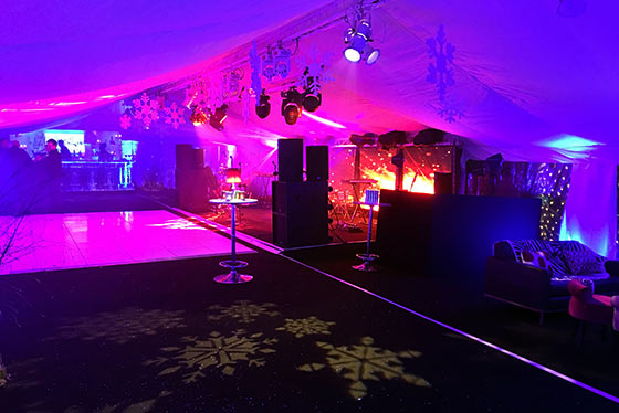 Elegantly lit party tent