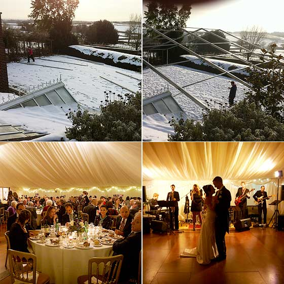 Winter marquee wedding in the snow, inside and outside