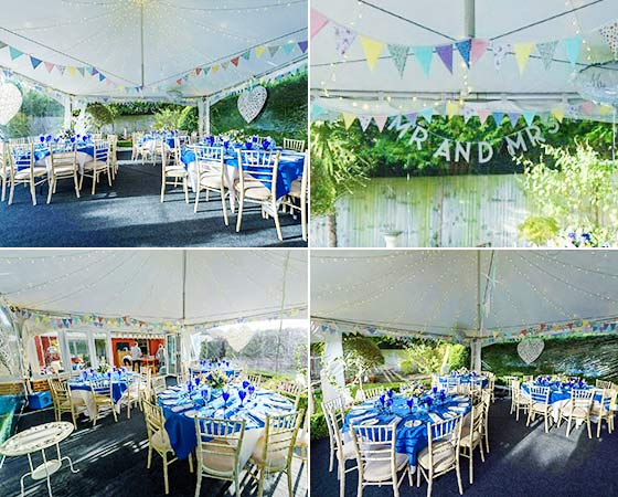 Pretty wedding marquee in the garden in Borehamwood, London