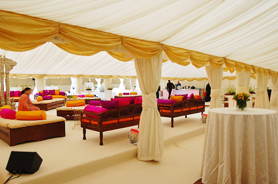 Asian wedding marquees spanning a garden in Harrow, London