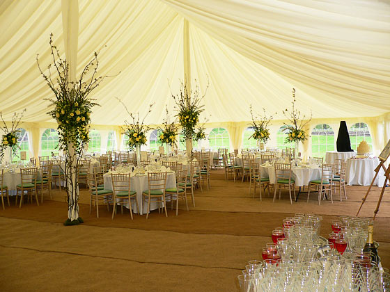 Inside a traditional style marquee