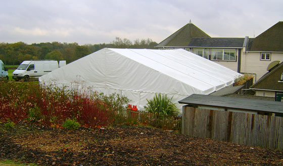 Marquee using all space in small garden