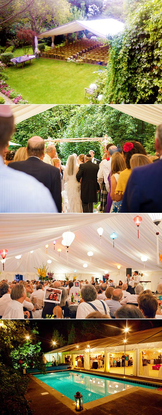 Marquee wedding ceremeny in the garden and reception with Vietnamese hanging lanterns