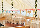 Pretty white and pink wedding marquee
