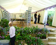 Putting the finishing touches to a marquee, a marquee job in Surrey