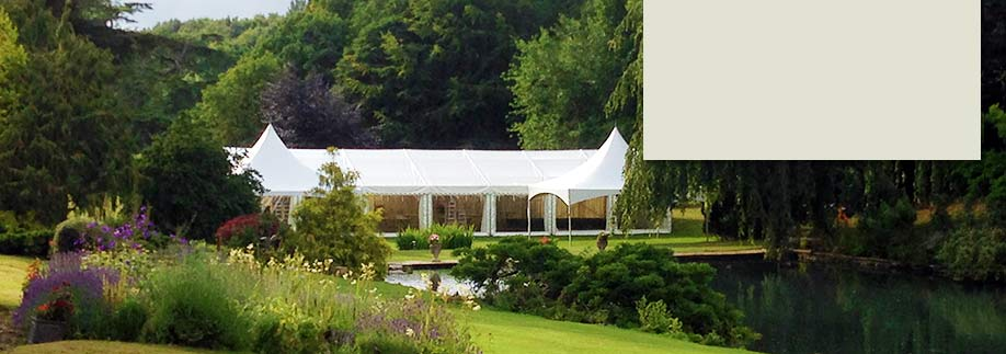 Frame marquee with entrance porch, Busbridge Lakes, Surrey