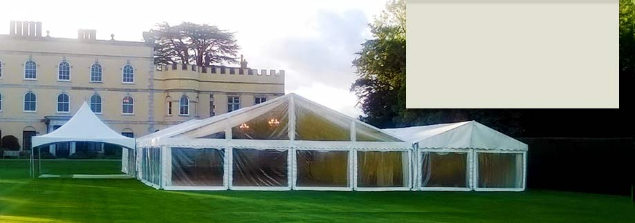 Partially transparent wedding marquee at Hampden House