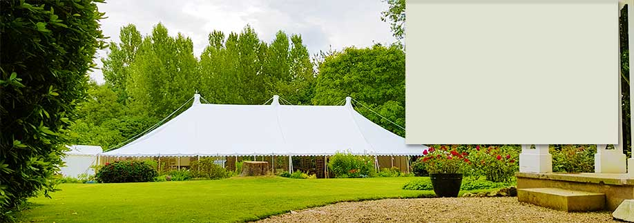 Traditional style marquee in a large Oxfordshire garden