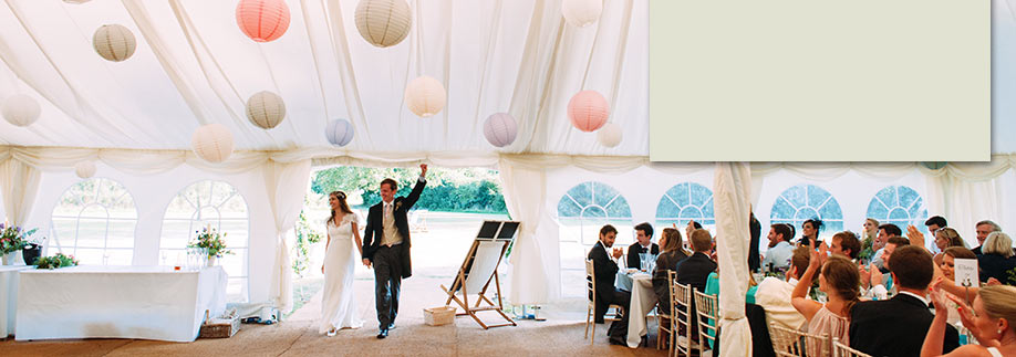 Wedding marquee with paper lanterns