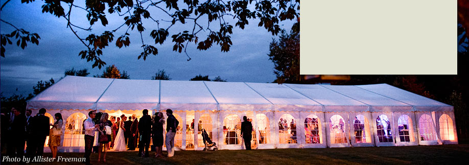 Reception marquee looking good at dusk