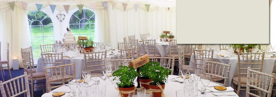 Natural theme wedding marquee with bunting