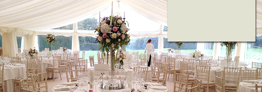 Classic wedding marquee with vintage accents