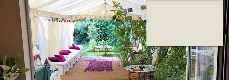 Party tent in small garden