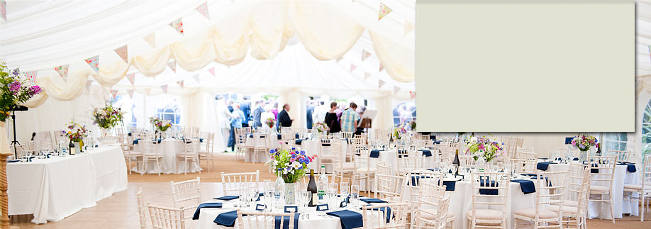 Pretty summer wedding reception with bunting